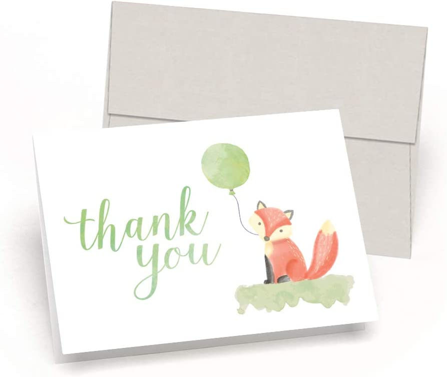 Cute Like A Fox Little Fox Baby Shower Thank You Cards Set of 10 Cards Envelopes – Watercolor Baby Fox – by Palmer Street Press Green
