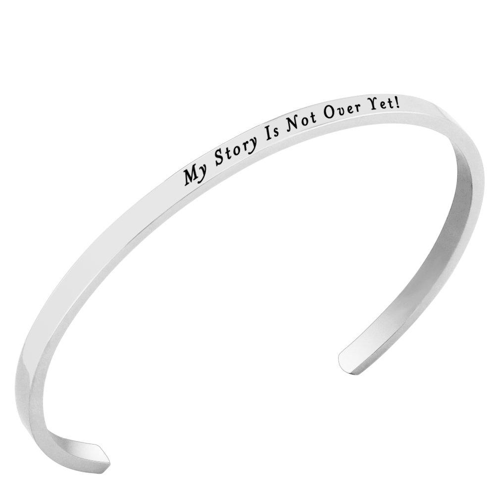 Lademayh My Story Is Not Over Yet! Inspirational Faith Bracelets Stainless Steel Prayer Bracelets, Adjustable Customized Power Bracelet