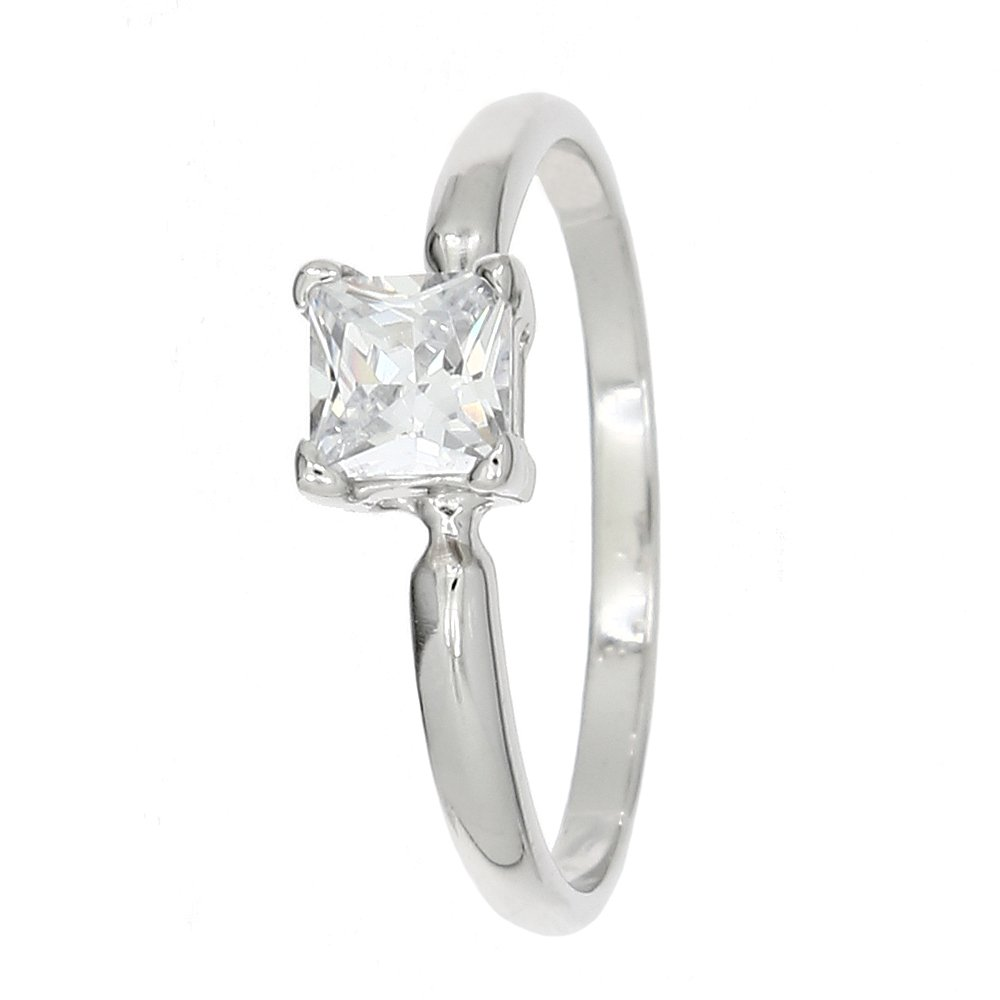 Lgu Sterling Silver Rhodium Plated Polished Glass Stone Princess Cut Child Ring Birth Month April (5) by Lgu