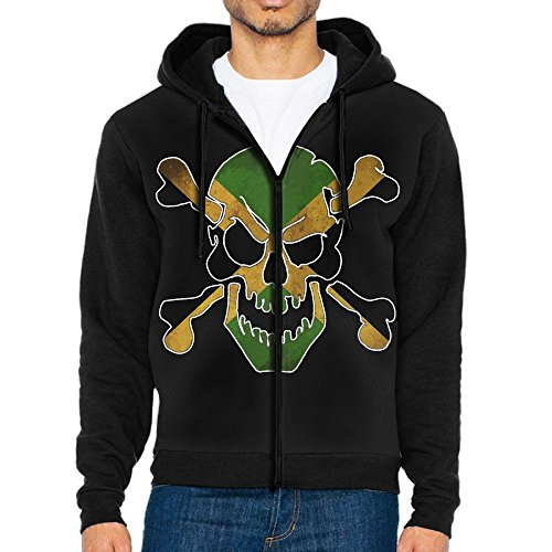 Chic-in Mens Jamaica Skull Flag Jamaican Casual Zip Front Hoodie Sweatshirts Jacket - Sunglasses Flag Jamaican