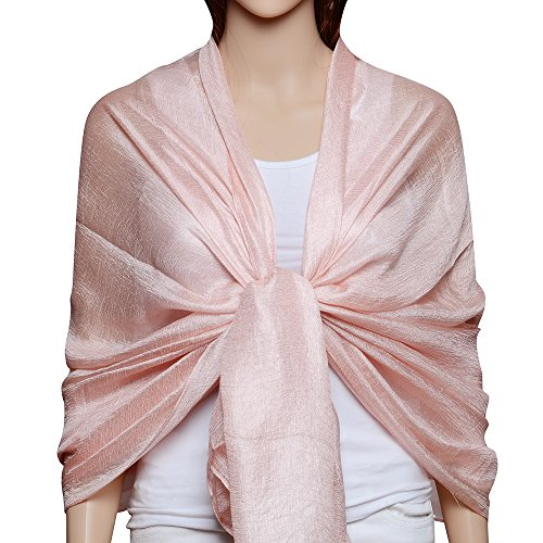 QBSM Womens Baby Pink Sheer Large Soft Bridal Formal Evening Scarf Shawls Wraps Summer Cover Up Mother's Day Gift - Evening Dress Wrap