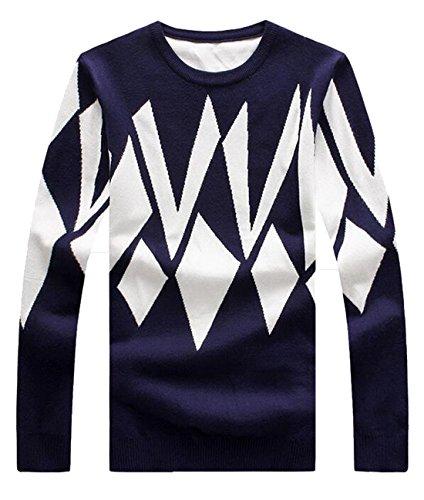 BYBUMen BYBU Men's Geometric Pattern Long-Sleeve Pullover Sweater Navy Blue M