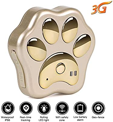 GPS Tracker for Dogs - Autopmall GPS Dog Tracker Device 3G Waterproof Real Time Tracking Sensor Lights WiFi Safety Zone with Free APP(Gold)