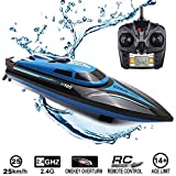 SZJJX RC Boat 2.4GHz 25KM/H High Speed 4 Channels Remote Control Electric Racing Boat for Pools and Lakes Automatically 180 Degree Flipping Transmitter with LCD Screen Blue
