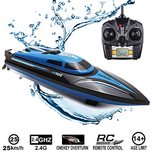 (SZJJX RC Boat 2.4GHz 25KM/H High Speed 4 Channels Remote Control Electric Racing Boat for Pools and Lakes Automatically 180 Degree Flipping Transmitter with LCD Screen Blue)