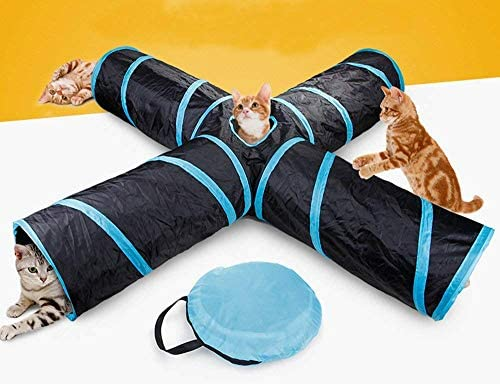 Yingxin 4 Way Cat Tunnel Pet Toy Tunnel Large Indoor Outdoor Collapsible Pet Toy Crinkle Tunnel TubeStorage Bag for Cat Dog Puppy Kitty Kitten Rabbit