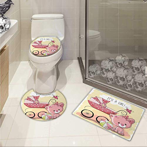 Baby Carriage 3 Shower 24 - Gender Reveal 3 Piece Toilet mat Set Cute Kitten Cat Baby Carriage Cat Kids Design Its A Girl Family 3 Piece Shower Mat Set Pale Yellow Pink