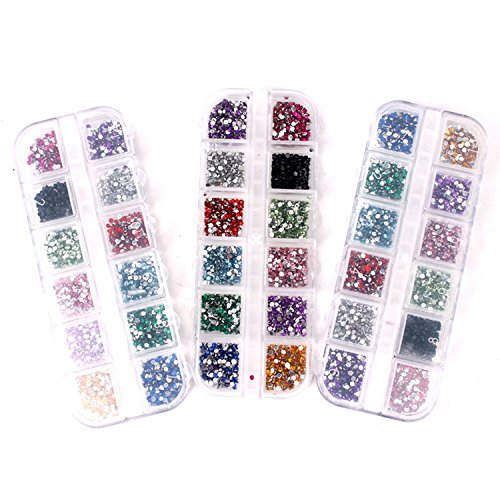 365Cor(TM) 2mm Sizes 3000 Pcs Nail Art Tips Acrylic Glitter Rhinestone Nail Art Decoration+ Case by 365Cor