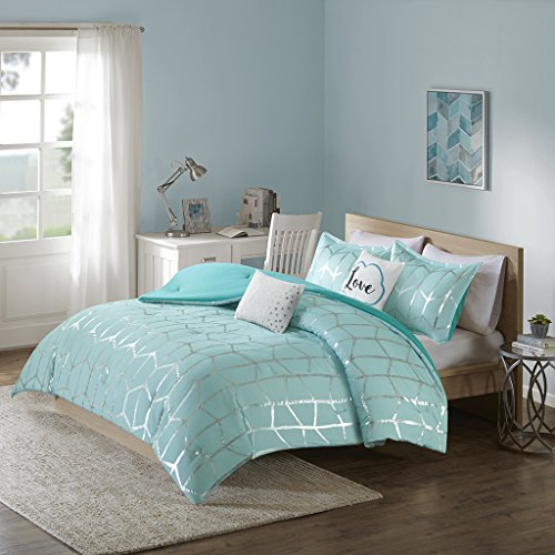 Intelligent pattern and design Raina Comforter Set Twin/Twin Xl Size - Aqua Silver, Geometric – 4 Piece Bed Sets – extremely comfortable Microfiber Teen Bedding For Girls Bedroom