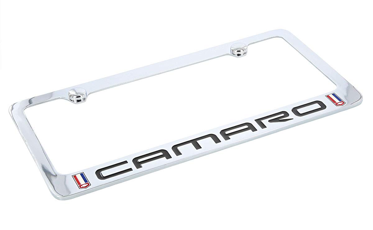 White and Blue Logo Chrome Plated Brass License Plate Frame 1982-2002 Red Chevy Camaro