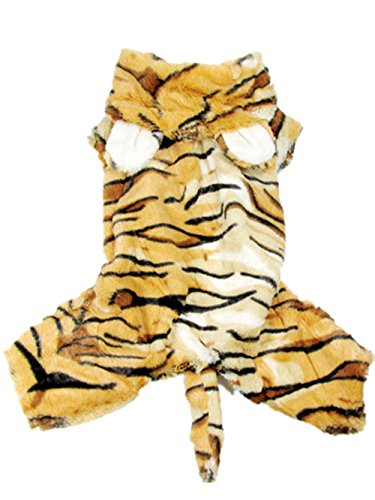 EXPAWLORER Dog Christmas Costume Tiger, Holiday Clothes Jumpsuit Medium