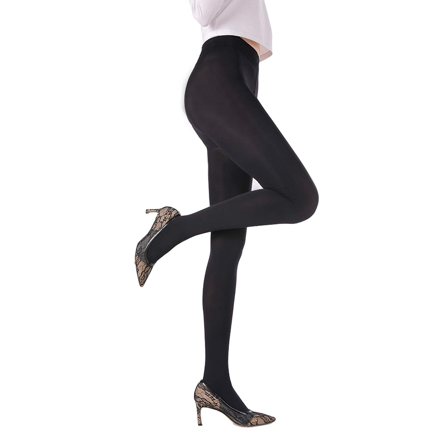 bf87144e849 WEANMIX Women s Super Opaque Tights Control Top Nude Pantyhose Footed Soft  Solid Color Black at Amazon Women s Clothing store