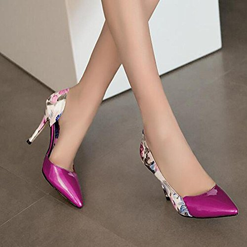 Fine Summer autumn Shoes Dance With Red Large Women'S Printing Size Tip and Leather High Heels EIqnx0wHR