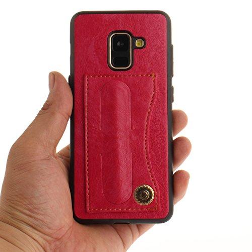 Klassikaline Hülle für Samsung Galaxy A8 2018, Samsung Galaxy A8 2018 Handy Hülle Case PU-Leder, Handy Tasche [Mit Standfunktion] für Samsung Galaxy A8 2018 - Rot Rose