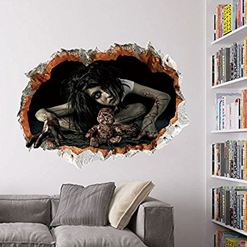 3D Female Ghost Breaking Wall Halloween Decoration 24