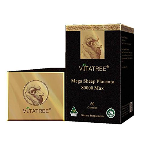 VitaTree Mega Sheep Placenta 80000 Max 60 Capsules Made In Australia (Best Brand Of Sheep Placenta Capsules)
