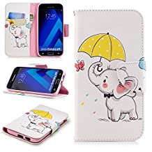 for Galaxy A5 (2017) Wallet Case with Card Holder,Samsung Galaxy A5 2017 Leather Phone Cases and Screen Protector,QFFUN Elegant Pattern Design [White Elephant] Magnetic Closure Stand Function Shockproof Anti-Scratch Drop Protection Etui Shell Bumper Protective Flip Cover