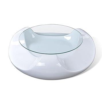 Vidaxl Table Basse Table Salon Ronde Blanche Fibre De Verre Unique