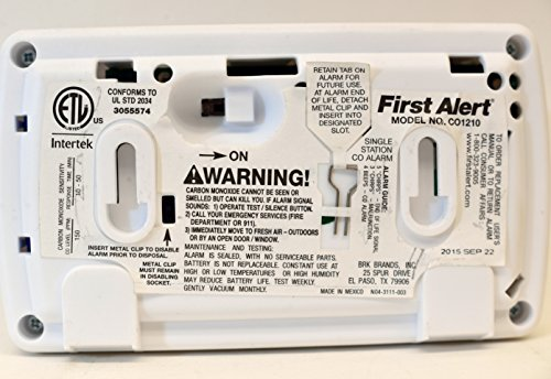 First Alert Carbon Monoxide Alar Long life 10 Year Alarm with Temperature by First Alert (Image #3)