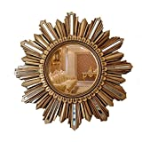 Greawei@ Wall Mirror European Retro Porch Living Room Wall Decoration Mirror Simple and Elegant (Color : Ancient Gold)