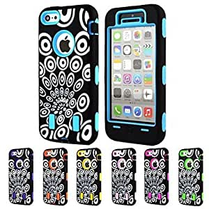 Mini - 3-in-1 Design Peacock Pattern Hard Case with Silicone Inside Cover for iPhone5C , Color: Blue