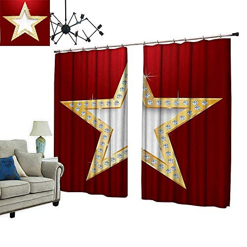 PRUNUS Decorative Curtains has Hook Polished Blowing Star with Crystal Silver Flash Diamonds Show Celebration Party Machine Washable for Easy Care,W120 -