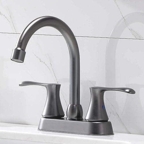 Comllen Best Double Handle Unique Steel Black Basin Vanity Bathroom Faucet,Stainless Steel Lavatory Bathroom Sink Faucet With Supply Lines