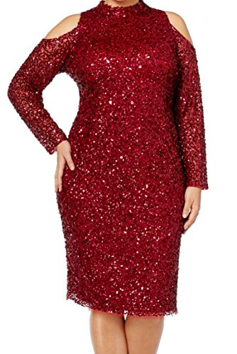 - Adrianna Papell Women's Plus Sequined Sheath Dress Red 18W
