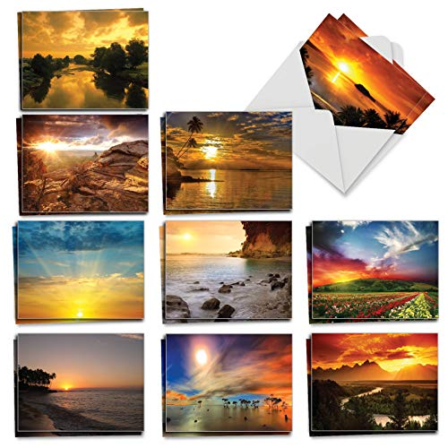 Sun Settings - 20 Blank Sunset Note Cards with Envelopes (4 x 5.12 Inch) - Boxed Assortment of All-Occasion Scenery, Landscape Greeting Cards - Bulk Notecard Set (2 Each, 10 - Card Box Rise