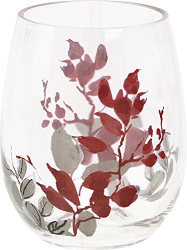 Corelle Coordinates by Reston Lloyd Kyoto Leaves Acrylic Stemless Wine Glasses (Set of 4), 16 oz., Clear