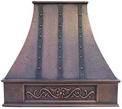 Copper Best Kitchen Range Hood with High Airflow Centrifugal Blower, Includes SUS 304 Liner (Vent Box) and Baffle Filter, Lighting and Switch, Embossed Custom Pattern Wall Mount High cfm W42 x H30inch