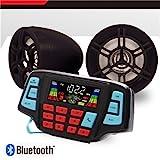 UTV ATV Bluetooth Amplifier Sound System Hand-Free Speakers FM USB Audio System Stereo 3 inch Speakers 12V Motorcycle Waterproof Audio FM Radio Stereo Speaker for iPhone/iPod/MP3 … (Black Speaker)