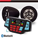 UTV ATV Bluetooth Amplifier Sound System Hand-free Speakers FM USB Audio System Stereo 3 Inch Speakers 12V Motorcycle Waterproof Audio For iPhone/iPod/MP3 (Black Speaker)