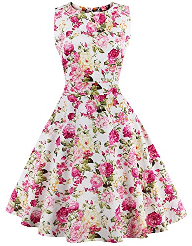 FAIRY COUPLE 50s Vintage Retro Floral Cocktail Swing Party Dress with Bow DRT017(M, Pink Yellow Floral)]()