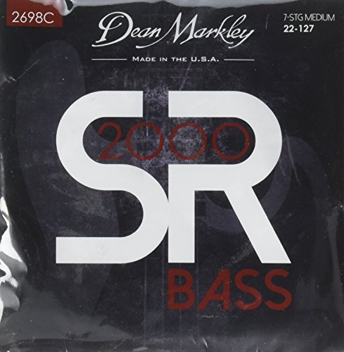 Dean Markley SR2000 Bass Strings 2698C Custom Nickel Plated Bass Guitar Strings, 7-String, 22-127, ()