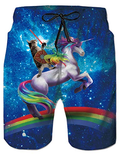 Belovecol Mens Bathing Suits Unicorn Cat Rainbow Cool Pattern Casual Swim Trunks Long M]()