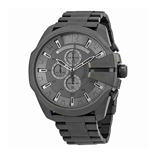 Diesel Men's Mega Chief Quartz Stainless Steel Chronograph Watch, Color: Grey (Model: (Diesel Chronograph Watch)