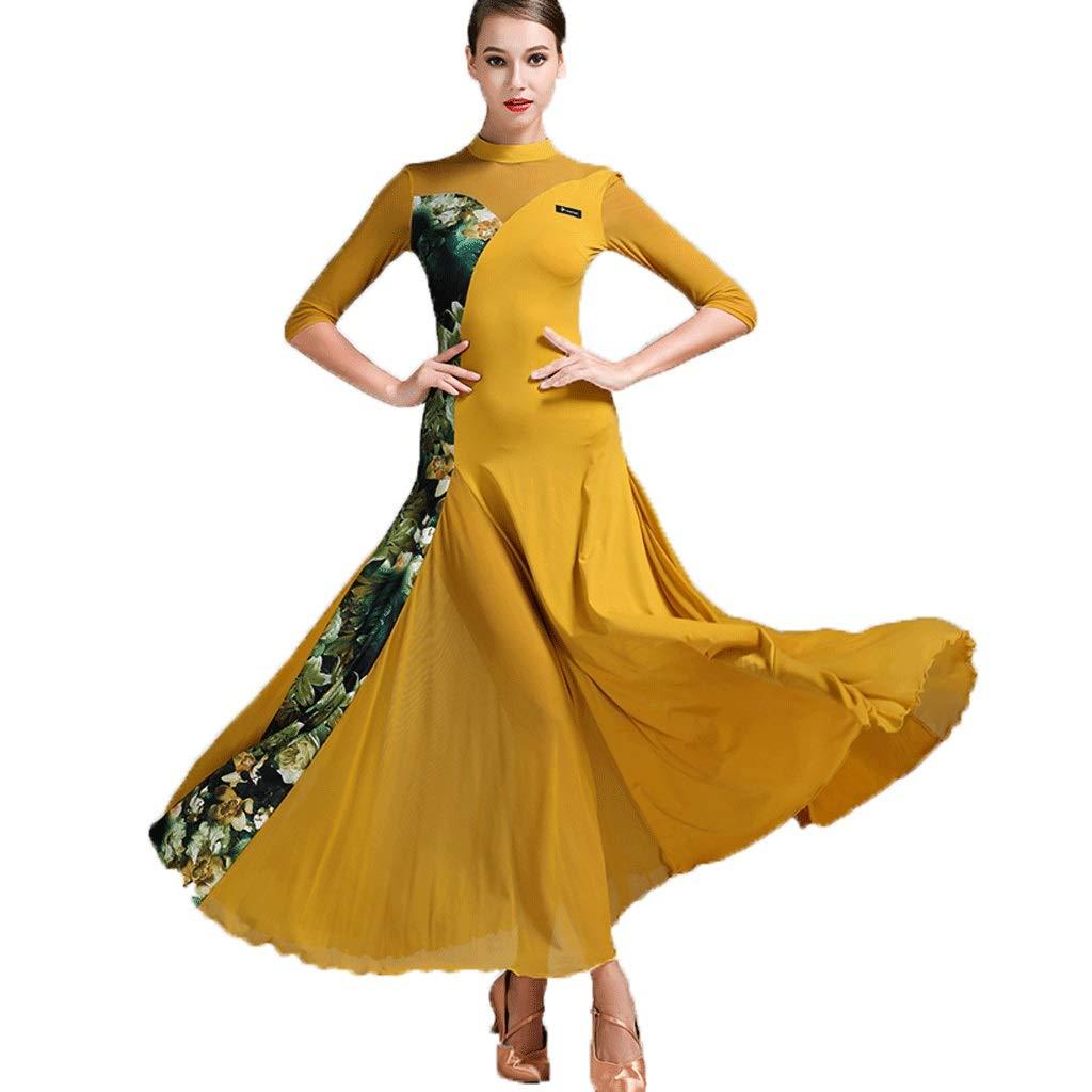 Jaune CX Robe De Danse Moderne Robe De Danse Nationale Couture Florale Jupe Longue Costume De Danse De Salon XXL