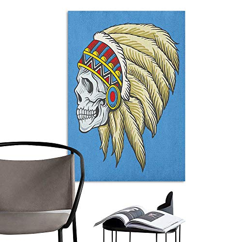 Wall Paintings self-Adhesive Tribal Native American Dead Skull with Feathers Tattoo Folk Aztec Pattern Violet Blue Cream Pearl 3D Decorative Sticker W24 x -