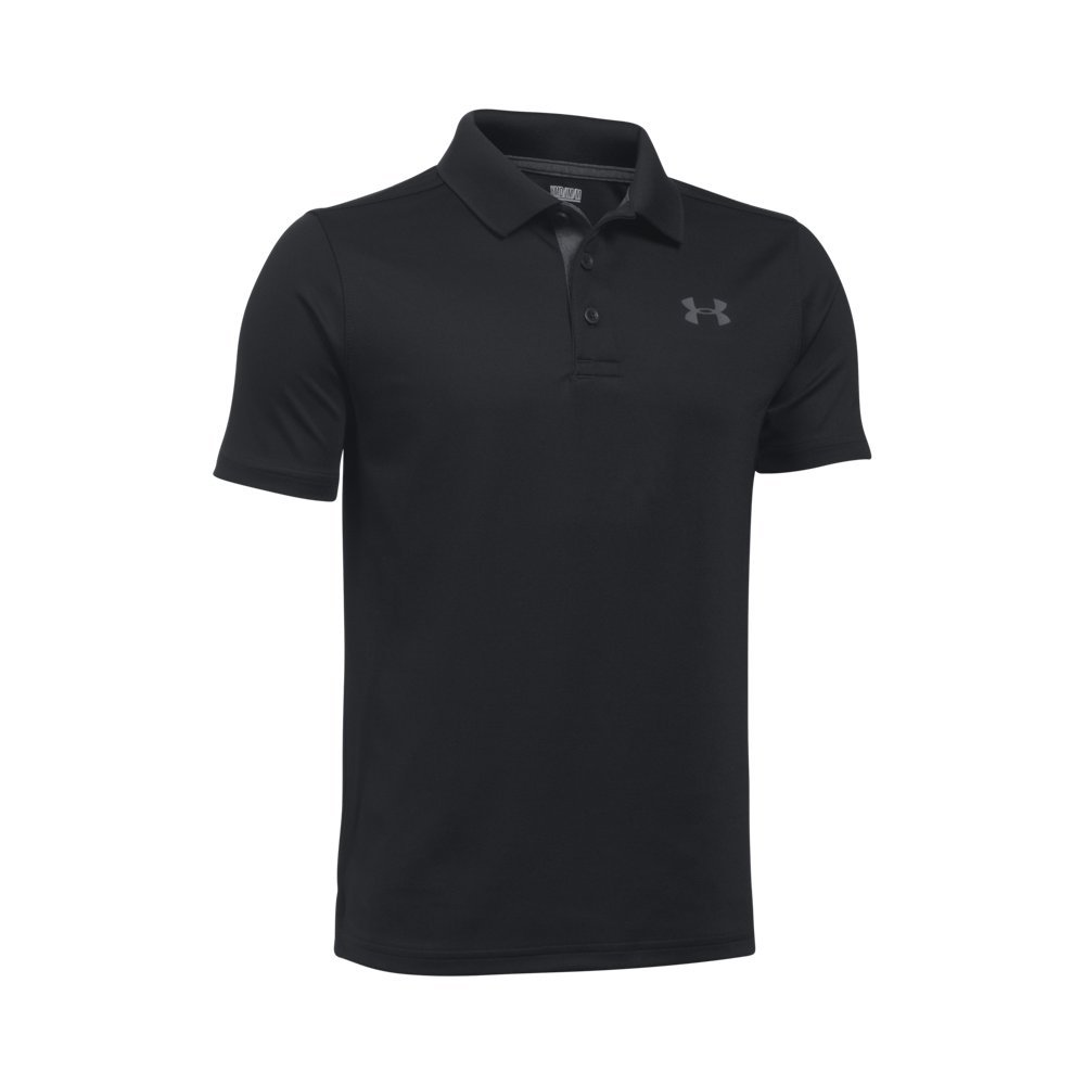 Under Armour Boys' Performance Polo, Black /Rhino Gray, Youth X-Small