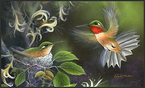 Hummingbird Floor Mat (Toland Home Garden Rufous Hummingbird 18 x 30 Inch Decorative Floor Mat Flying Bird Tree Nest Doormat)