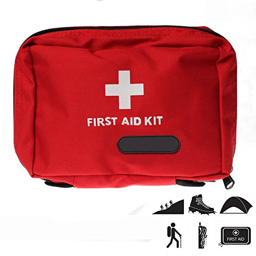 First Aid Bag, HamFire Small First Aid Empty Kit Bag First Responder Storage Bag for Outdoor Travelling Camping Sport Medical Emergency Survival (Red) by HamFire