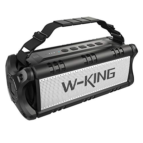 50W Wireless Bluetooth Speakers & 8000mAh Battery Power Bank,W-KING Outdoor Portable Waterproof TWS Speaker, Powerful Rich Bass Loud Clear Stereo Sound for Parties, Indoor & Outdoor (Black)