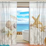 SEULIFE Window Sheer Curtain, Ocean Sea Summer Beach Seashell Starfish Voile Curtain Drapes for Door Kitchen Living Room Bedroom 55x84 inches 2 Panels