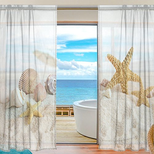 SEULIFE Window Sheer Curtain, Ocean Sea Summer Beach Seashell Starfish Voile Curtain Drapes for Door Kitchen Living Room Bedroom 55x84 inches 2 Panels by SEULIFE