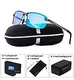 MOORAY Polarized Sunglasses for Men, UV Protection Sports Sunglasses,Outdoor Eyewear, Metal Frame Sunglasses(Blue)