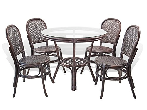 5 Pc Timor Rattan Wicker Dining Set Round Table w/Glass+4 Side Chairs.Dark Brown Color