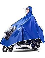 Waterdichte fietsponcho, lichtgewicht en compact, winddicht regenjas manteljack met capuchon, universeel voor mannelijke en vrouwelijke volwassenen, herbruikbaar (Color : Blue, Size : 3XL)