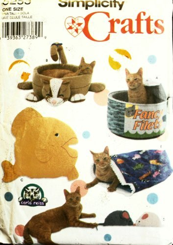 Simplicity 5233 Crafts Sewing Patern Fancy Comfy Cat Beds Toys, One Size ()