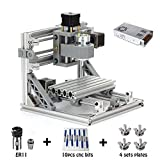 MYSWEETY DIY CNC Router Kits 1610 GRBL Control Wood Carving Milling Engraving Machine (Working Area 16x10x4.5cm, 3 Axis, 110V-240V), with ER11 and 5mm Extension Rod